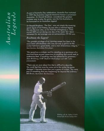 Don-Bradman-memorabilia-Australian-Post-Legend-Commemorative-Stamp-Souvenir-Booklet-Cricket-memorabilia-The-Don-biography
