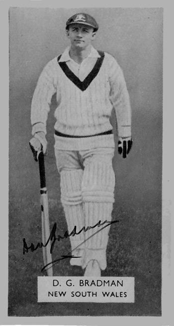 SIR DON BRADMAN (NSW & Australia) hand-signed black & white player card
