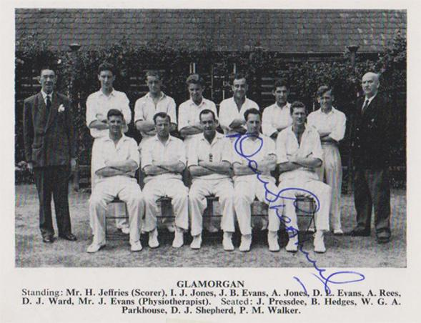 Don-Shepherd-autograph-signed-Glamorgan-cricket-memorabilia-bowler-signature-wales-team-photo-signature