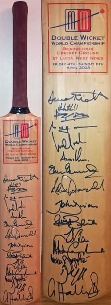 Double-Wicket-World-championships-cricket-bat-2003-west-indies-andrew-flintoff-autograph-adam-hollioake-signed-vettori-oram-blewett