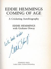 Eddie-Hemmings-autograph-signed-england-cricket-memorabilia-book-autobiography-coming-of-age-warks-ccc-signature-1991