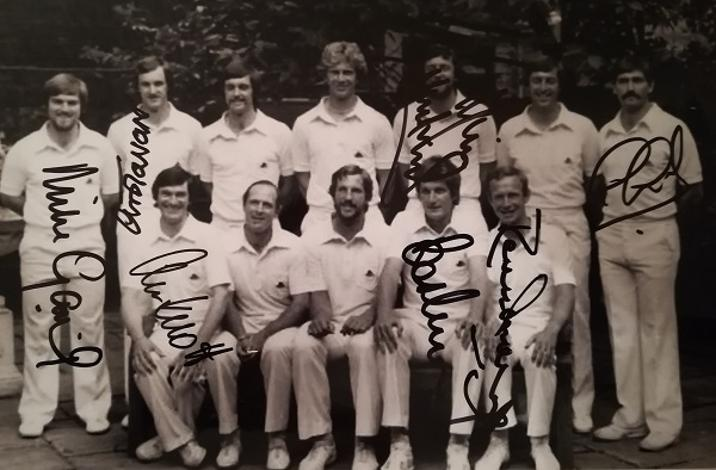England cricket memorabilia signed 1980 test match team photo alan knott autograph underwood gatting chris tavare debut gooch signature