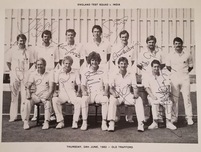 England cricket memorabilia signed 1982 test match team photo botham autograph willis randall tavare kevin jarvis gatting gower signature
