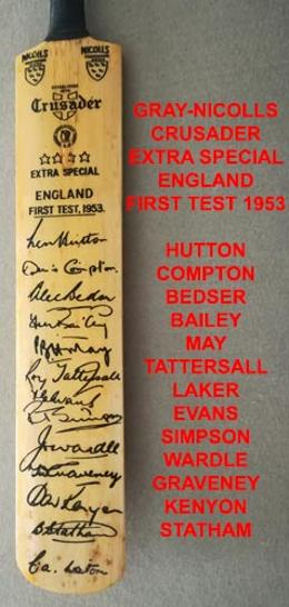 England cricket-memorabilia-1953-ashes-test-series-signed-gray-nicolls-bat-hutton-laker-may-bedser-compton-autograph-crusader