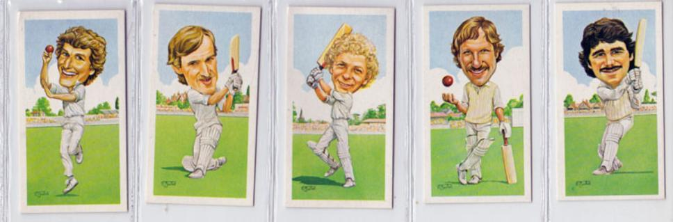 England Test Match cricket player cards Willis, Botham Lamb Tavare Gower