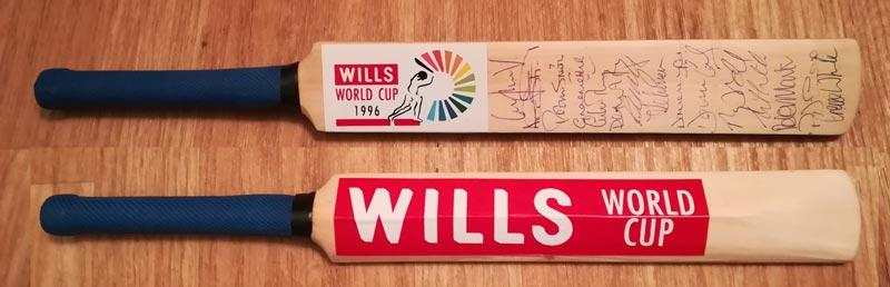 England cricket memorabilia 1996 world cup wills mini bat mike atherton signed graeme hick autograph stewart gough defreitas smith thorpe