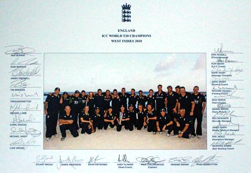 England-cricket-memorabilia-2010-World-T20-Champions-signed-trophy-squad-photo-team-ECB-West-Indies-Collingwood-Pietersen