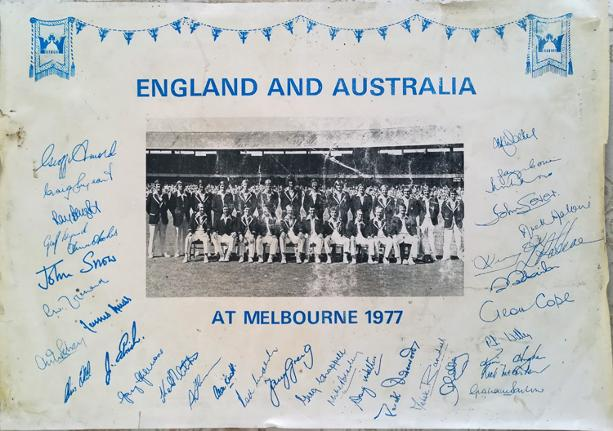 England-cricket-memorabilia-australia-ashes-1977-centenary-test-match-melbourne-squad-player-autographs-signed-team-photo-signatures-100-years