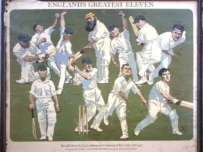 England-cricket-memorabilia-greatest-eleven-1877-1977-trog-cartoon-caricature-the-cricketer-magazine-wg-grace-woolley-ames-rhodes-hobbs-compton-larwood