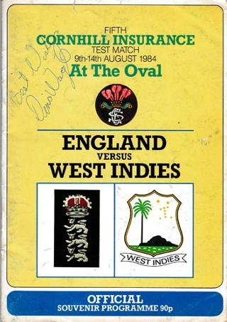 England-cricket-memorabilia-signed-1984-oval-fifth-test-match-programme-West-indies--Malcolm-Marshall-autograph--greenidge-gower