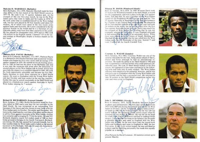 England-cricket-memorabilia-signed-1984-oval-fifth-test-match-programme-West-indies--Malcolm-Marshall-autograph-courtney-walsh-richie-richardson