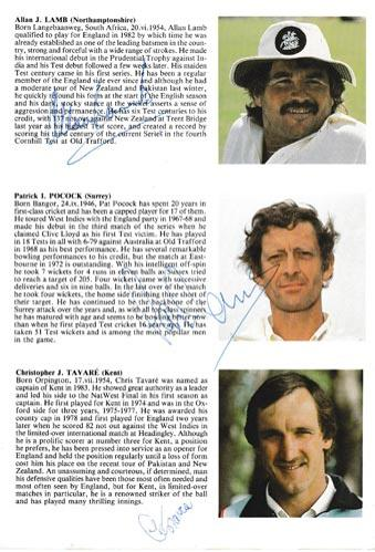 England-cricket-memorabilia-signed-1984-oval-fifth-test-match-programme-West-indies-Allan-Lamb-autograph-chris-tavare-signature