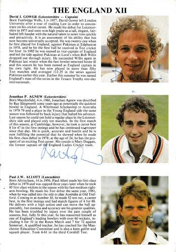 England-cricket-memorabilia-signed-1984-oval-fifth-test-match-programme-West-indies-Allan-Lamb-autograph-david-gower-signature