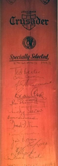 England-cricket-memorabilia-signed-bat-1963-test-series-west-indies-dexter-cowdrey-trueman-laker-lock-titmus-barrington-close-parks-sharpe-shackleton-stewart-larter