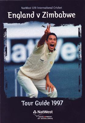 England-cricket-memorabilia-u19-zimbabwe-tour-guide-1997-nat-west-andrew-flintoff-freddie-captain-ben-hollioake-owais-shah-alex-tudor-ryan-sidebottom-chris-read