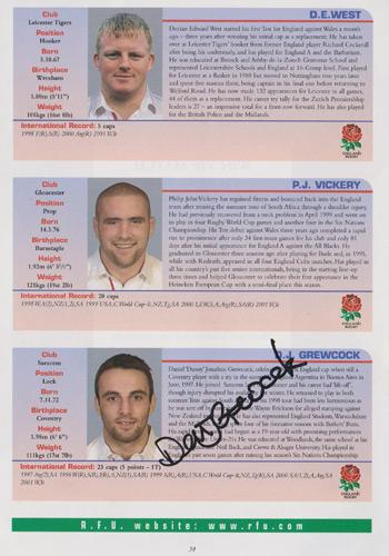 England-rugby-memorabilia-rufc-signed-twickenham-programme-2001-scotland-five-six-nations-union-danny-grewcock-kyran-bracken-richard-hill-autograph-signature