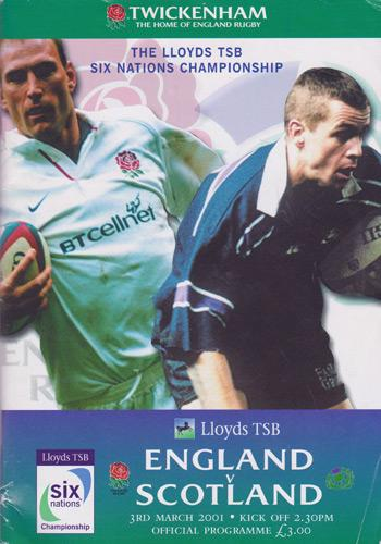England-rugby-memorabilia-signed-twickenham-programme-2001-scotland-rufc-five-six-nations-union-danny-grewcock-kyran-bracken-richard-hill-autograph-signature
