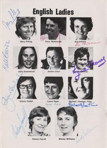 England-womens-cricket-memorabilia-signed-watsonians-club-brochure-centenary-1875-1975-team-ladies-autographs