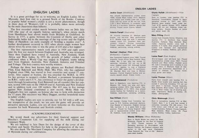 England-womens-cricket-memorabilia-signed-watsonians-club-brochure-centenary-1875-1975-team-ladies-biography