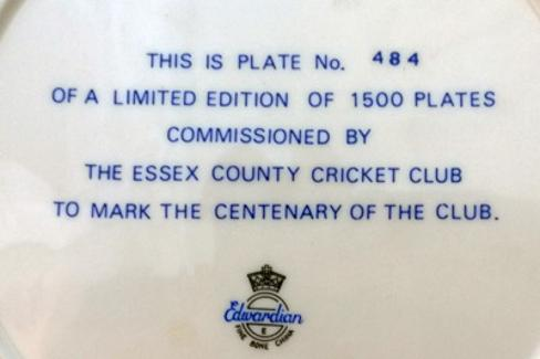 Essex-county-cricket-memorabilia-1976-club-centenary-commemorative-plate-1876-limited-edition-edwardian-porcelain-china-badge