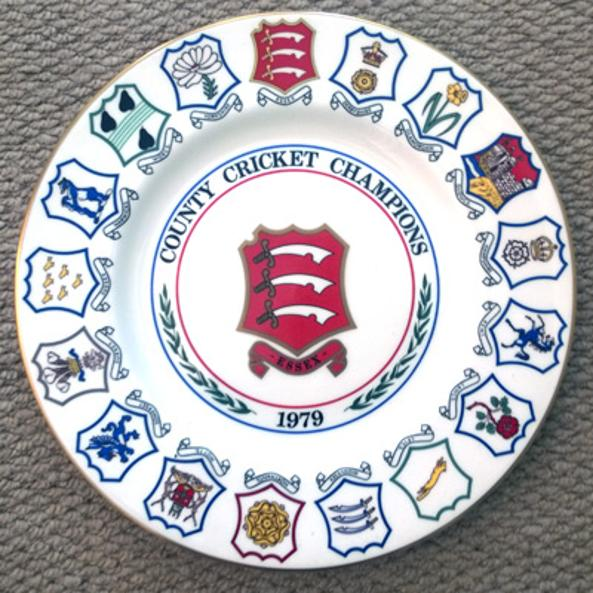 Essex-county-cricket-memorabilia-club-1979-schweppes-champions-commemorative-plate-limited-edition-coalport-porcelain-china-badge-keith-fletcher-signature
