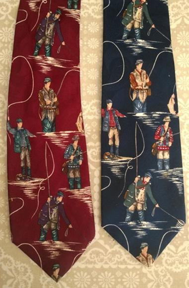 Fly-Fishing-memorabilia-Silk-Neck-Tie-Angling-clothing-Red-Blue-Coarse-Game-Fashion
