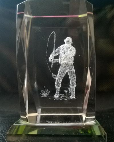 Fly-Fishing-paperweight-laser-3D-etched-crystal-glass-lazer-fisherman