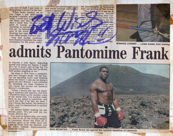 Frank-Bruno-autograph-signed-boxing-memorabilia-heavyweight-champion-of-the-world-pantomime-dame-Lennox-Lewis-fight-title-belt-boxer