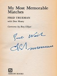 Fred-Trueman-autograph-signed-england-cricket-memorabilia-book-my-most-memorable-matches-yorkshire-signature