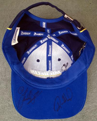 Freddie-Spencer-memorabilia Randy-Mamola-memorabilia signed-Michelin-motor-cycle-superbike-moto gp-cap