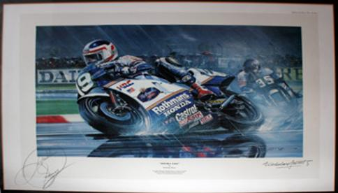 Freddie-Spencer-memorabilia-signed-print-Double-Take-Moto-GP-Super-Bike-motor-cycling-memorabilia-1985 World Champion Honda Nicholas-Watts-Fast-350