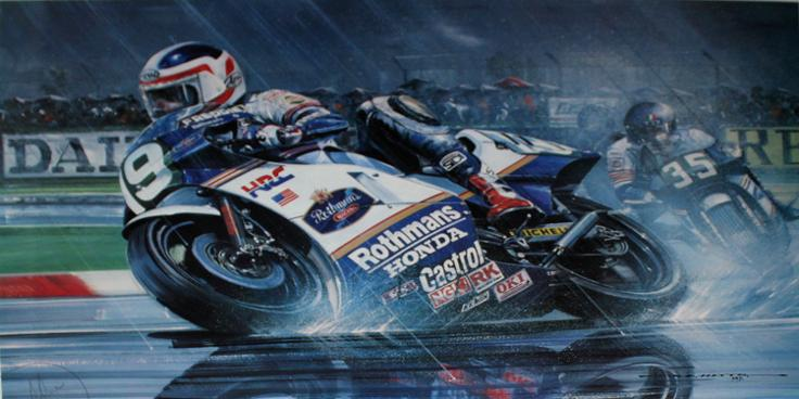 Freddie-Spencer-memorabilia-signed-print-Double-Take-Moto-GP-Super-Bike-motor-cycling-memorabilia-Nicholas-Watts-Fast-Freddie-1985 World Champion Honda 750