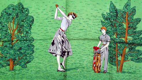 French-vintage-ladies-golf-scarf-lady golfer-caddie-silk-1950s bianchini fashion haute couture france