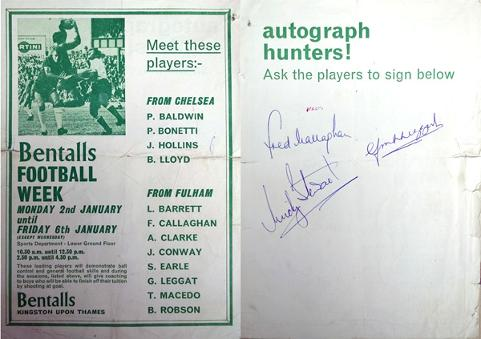 Fulham-fc-football-memorabilia-Bentalls-Football-Week-player-autographs-Graham-Leggat-autograph-Fred-Callaghan-Micky-stewart-Chelsea-signed-1960s