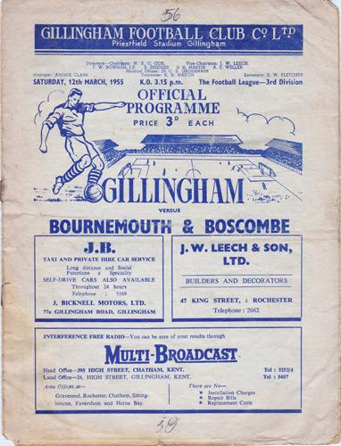 GILLINGHAM-FC-football-memorabilia-programme-1955-Bournemouth-The-Gills