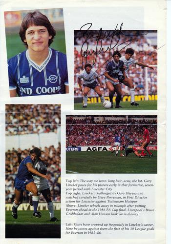 GARY LINEKER signed book page