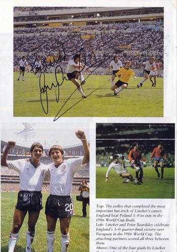 GARY LINEKER signed book page England