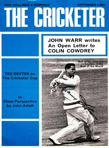Sir Gary Sobers signed 1967 Cricketer magazine cover