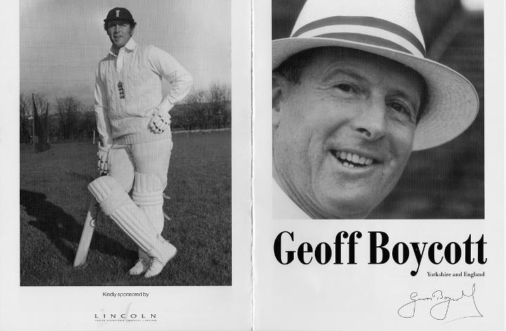 GEOFF BOYCOTT signed commemorative brochure 100 runs average