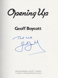 Geoff-Boycott-Yorkshire-England-signed-autobiography-Opening-Up-cricket-memorabilia-autographed