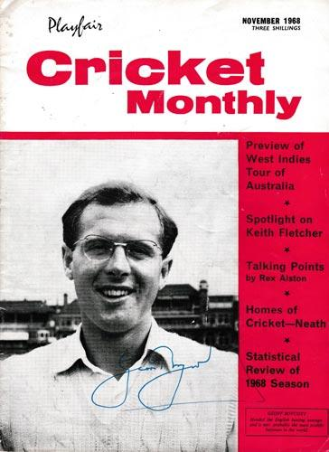 Geoff-Boycott-autograph-signed-yorkshire-cricket-memorabilia-playfauir-cricket-monthly-november-1968-england-batsman-cover-spectacles-glasses