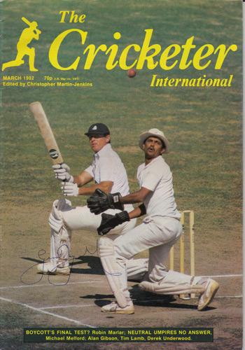 Geoff Boycott signed Cricketer magazine cover