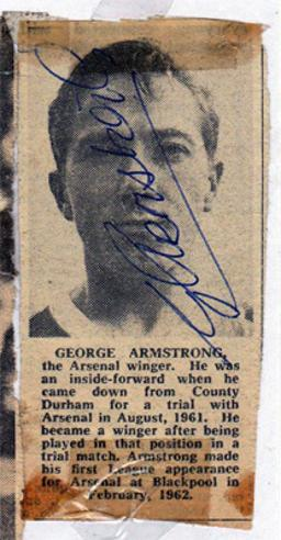 George-Armstrong-autograph-signed-Arsenal-fc-football-memorabilia-AFC-Gunners-scotland-winger-geordie-signature