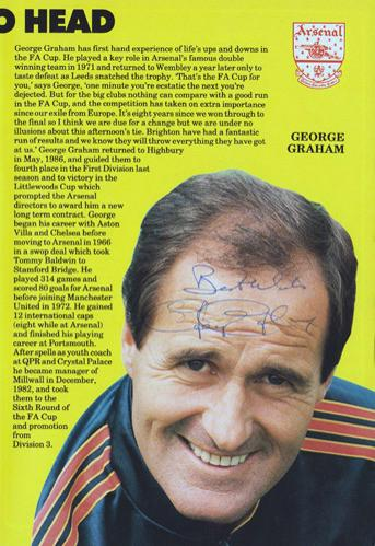 George-Graham-autograph-signed-Arsenal-fc-football-memorabilia-AFC-Gunners-1984-FA-Cup-programme-Manager-Stroller-Chelsea-Scotland