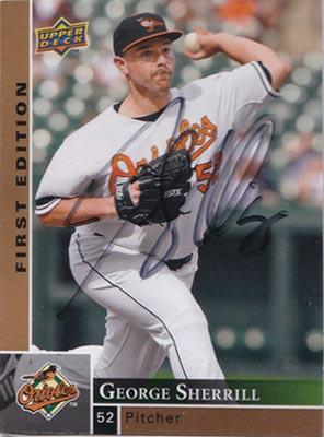 George-Sherrill-autograph-signed-baltimore-orioles-baseball-memorabilia-pitcher-2009-upper-deck-trading-card-first-edition