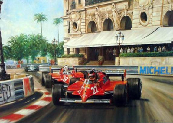 GILLES VILLENEUVE memorabilia limited edition framed print Villeneuve taking Casino Square on his way to victory in the 1981 Monaco GP driving a Ferrari 126CK Ferrari memorabilia