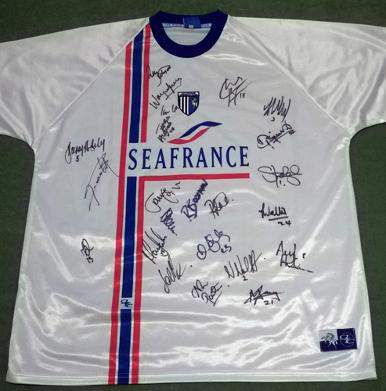 Gillingham-FC-football-memorabilia-away-shirt-signed-autographed-official-merchandise-Seafrance-2003-2004-white