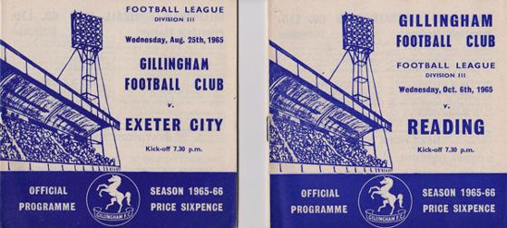 Gillingham-football-memorabilia-1965-programme-exeter-city-reading-town-the-gills-fc-priestfield-stadium