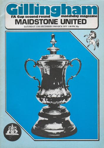 GILLINGHAM v MAIDSTONE UNITED Matchday Magazine / Programme FA Cup Second Round Sat Dec 13th 1980