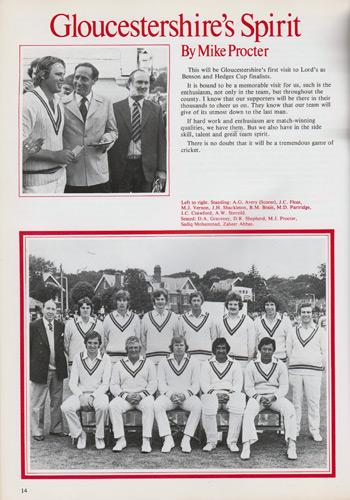 Gloucestershire-cricket-memorabilia-Gloucs-CCC-1977-Benson-and-Hedges-cup-final-programme-lords-Kent-champions-winners-trophy-Mike-Procter-Andy-Stovold-Sadiq